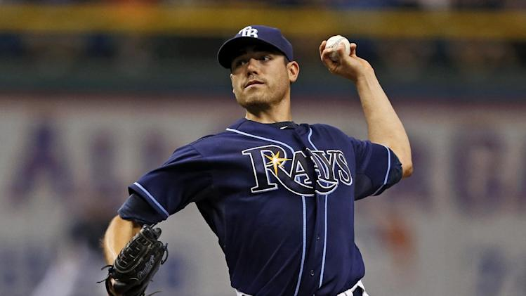 Tampa Bay Rays starting pitcher Matt Moore throws during the first inning of a baseball game against the Minnesota Twins Thursday, July 11, 2013, in St. Petersburg, Fla. (AP Photo/Mike Carlson)