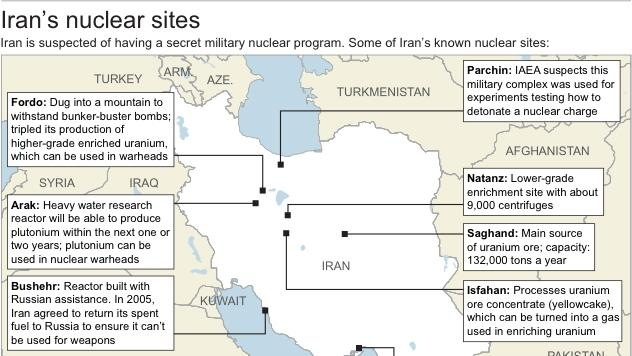 Map shows some of Iran's known nuclear sites