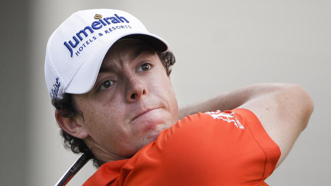 Rory McIlroy, of Northern Ireland, watches his drive on the 18th hole during the second round of the St. Jude Classic golf tournament on Friday, June 8, 2012, in Memphis, Tenn. McIlroy finished with a two-round score of 7-under-par 133. (AP Photo/Mark Humphrey)