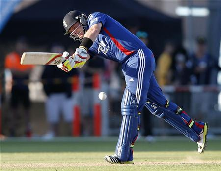 Ian Bell plays a shot against New Zealand during the second cricket match of their one day international series at McLean Park