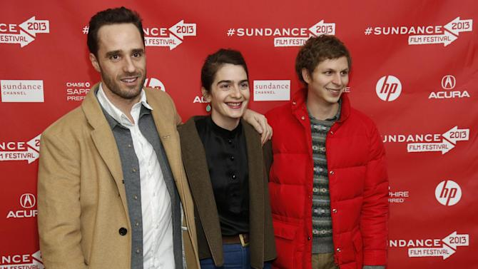 """Director Sebastian Silva, left, actress Gaby Hoffmann, center, and actor Michael Cera, right, pose at the premiere of """"Crystal Fairy"""" during the 2013 Sundance Film Festival on Thursday, Jan. 17, 2013 in Park City, Utah. (Photo by Danny Moloshok/Invision/AP)"""