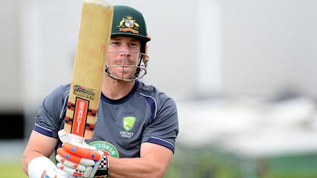 Australia's David Warner in the nets