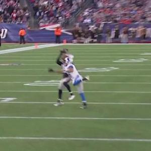New England Patriots cornerback Logan Ryan intercepts Detroit Lions quarterback Matthew Stafford, then laterals