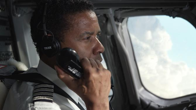 "This film image released by Paramount Pictures shows Denzel Washington portraying Whip Whitaker in a scene from ""Flight."" (AP Photo/Paramount Pictures)"