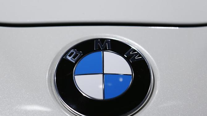 The logo of BMW is pictured during a media preview day at the Frankfurt Motor Show