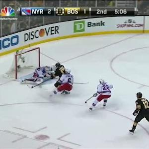 Henrik Lundqvist kicks out the pad on Lucic