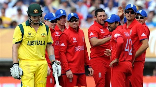 England dismiss Australia batsman Shane Watson in the Champions Trophy (AFP)