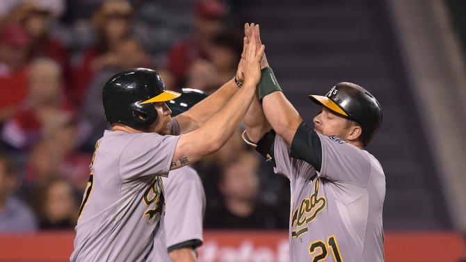 A's avoid sweep with 7-1 win over Angels