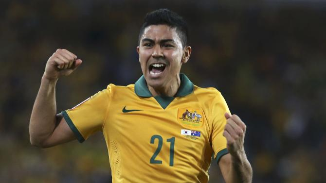 Australia's Massimo Luongo celebrates after scoring a goal during their Asian Cup final soccer match against South Korea at the Stadium Australia in Sydne