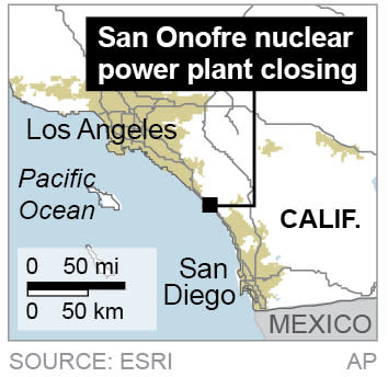 Map shows locates the San Onofre nuclear power plant in Southern California