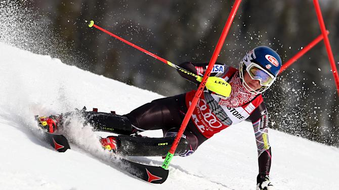 Olympic champion Shiffrin wins WCup slalom title