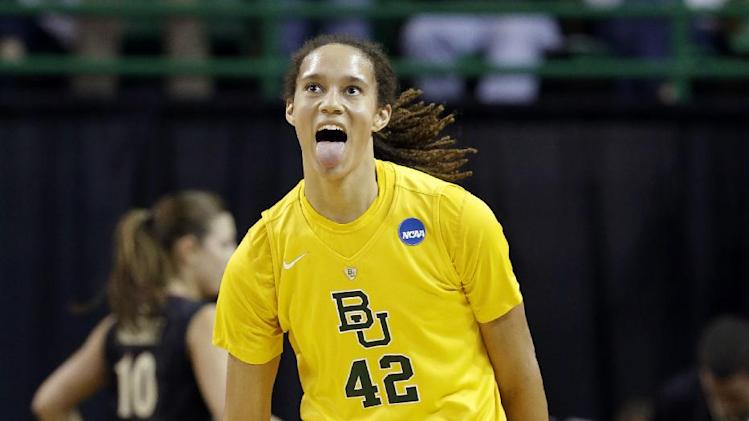 Baylor center Brittney Griner (42) celebrates after dunking against Florida State in the first half of a second-round game in the women's NCAA college basketball tournament, Tuesday, March 26, 2013, in Waco, Texas. (AP Photo/Tony Gutierrez)