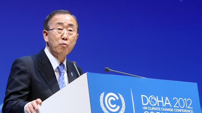 "U.N. Secretary-General Ban Ki-moon addresses the opening of the high-level segment of the annual U.N. climate talks involving environment ministers and climate officials from nearly 200 countries, in Doha, Qatar, Tuesday, Dec. 4, 2012. Ban has urged governments to speed up slow-moving talks to forge a joint response to global warming and warned that climate change was an ""existential challenge for the whole human race."" (AP Photo/Osama Faisal)"