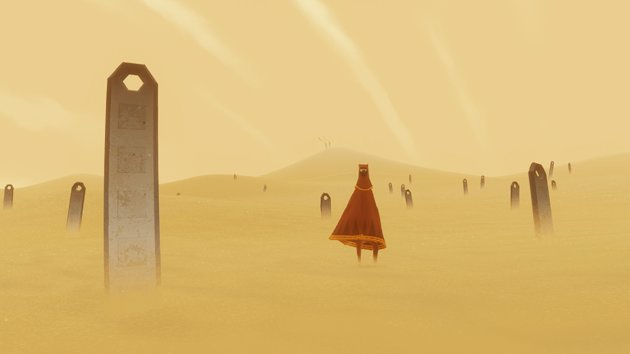 This undated publicity photo released by thatgamecompany/Sony Computer Entertainment America shows a scene from the video game, &quot;Journey.&quot; Austin Wintory&#39;s nomination for the artsy PlayStation 3 game &quot;Journey&quot; marks the first time a game score has been nominated for a Grammy. Wintory is facing John Williams and his score for &quot;The Adventures Of Tintin&quot; at the Feb. 10, 2013 ceremony, as well as the scores to &quot;The Artist&quot; by Ludovic Bource, &quot;Hugo&quot; by Howard Shore, &quot;The Dark Knight Rises&quot; by Hans Zimmer and &quot;The Girl With The Dragon Tattoo&quot; by Trent Reznor and Atticus Ross. (AP Photo/thatgamecompany/Sony Computer Entertainment America)