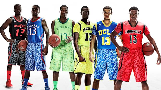 This undated image provided by Adidas shows models wearing new college basketball uniforms for, from left, Cincinnati, Kansas, Notre Dame, Baylor, UCLA and Louisville. (AP Photo/Adidas)
