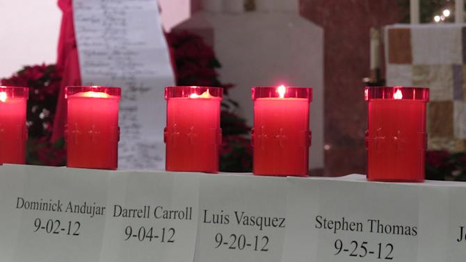 Candles in honor of victims of homicide in Camden, N.J., burn during a vigil at Cathedral of the Immaculate Conception in Camden, N.J., on Dec. 31, 2012. In the annual vigil, an hour is dedicated to remembering each homicide victim. The city of 77,000 had a record 67 homicides in 2012.  (AP Photo/Geoff Mulvihill)