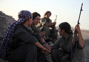 A picture taken on August 21, 2014 shows women Kurdistan …