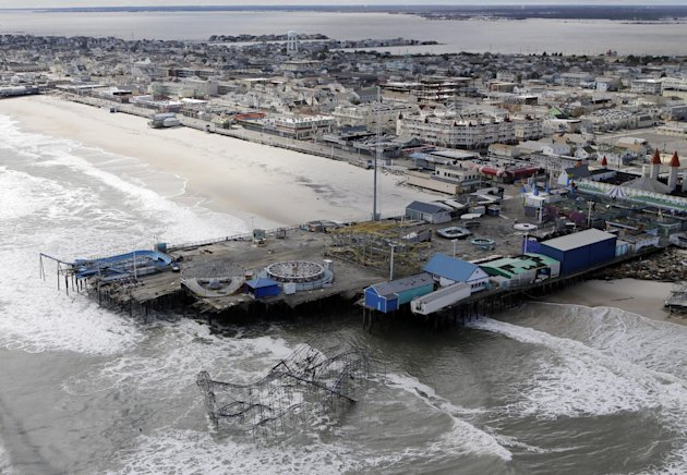 This aerial photo shows the damage to an amusement park left in the wake of superstorm Sandy on Wednesday, Oct. 31, 2012, in Seaside Heights, N.J. New Jersey got the brunt of Sandy, which made landfal