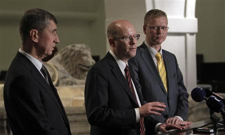 Leaders of ANO 2011 movement Babis, CSSD Sobotka and KDU-CSL Belobradek attend a news conference in Prague