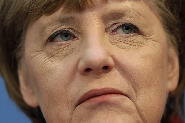 German Chancellor and chairwoman of the German Christian Democrats, CDU, Angela Merkel attends a press conference after the party&#39;s weekly executive committee meeting in Berlin, Germany, Monday, Jan. 21, 2013. German Chancellor Angela Merkel says a state election loss months before a national vote was painful  but she&#39;s downplaying the implications for her quest for a third term. (AP Photo/Michael Sohn)