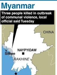 Graphic showing Myanmar&#39;s Rakhine state, where three people were killed in fresh outbreak of communal violence between Muslim Rohingya and Buddhists, a local official said Tuesday