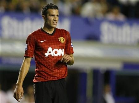 Manchester United's van Persie reacts during their English Premier League soccer match against Everton in Liverpool