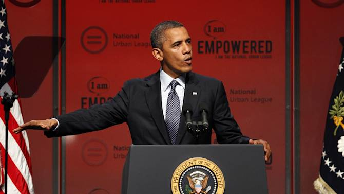 In this July 25, 2012, photo, President Barack Obama address the National Urban League Conference in New Orleans. Nearly all of the $100 million Republican presidential candidate Mitt Romney and his allies have spent on TV ads in general election battleground states has been aimed at a single audience: swing voters who say they like Obama personally but are disappointed in his job performance. To reach those voters, Republicans have adopted a political soft sell: coax them to consider Romney without criticizing the choice they made four years ago. (AP Photo/Bill Haber)