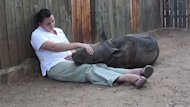 Baby Rhino Is Glued to Keeper After Seeing Poachers Kill Mother (ABC News)