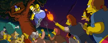 The citizens of Springfield are after Homer (voiced by Dan Castellaneta ) and the Simpsons in 20th Century Fox's The Simpsons Movie