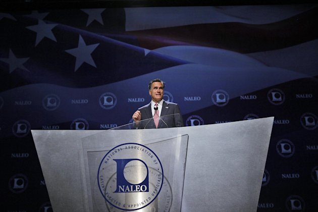 Republican presidential candidate, former Massachusetts Gov. Mitt Romney, speaks at the NALEO (National Association of Latino Elected and Appointed Officials) conference in Orlando, Fla., Thursday, June 21, 2012. (AP Photo/Charles Dharapak)