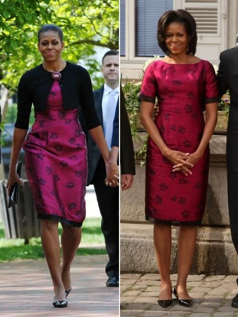Michelle Obama in the same dress on April 3, 2012 and April 8, 2012 -- Getty Images