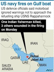 Map locating the area in the Gulf where an Indian fisherman was killed and three others were injured when a US navy ship fired at their boat, officials said