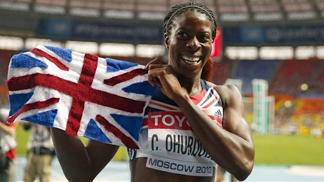 Christine Ohuruogu of Britain celebrates after winning the women's 400 metres final during the IAAF World Athletics Championships at the Luzhniki stadium in Moscow August 12, 2013. REUTERS