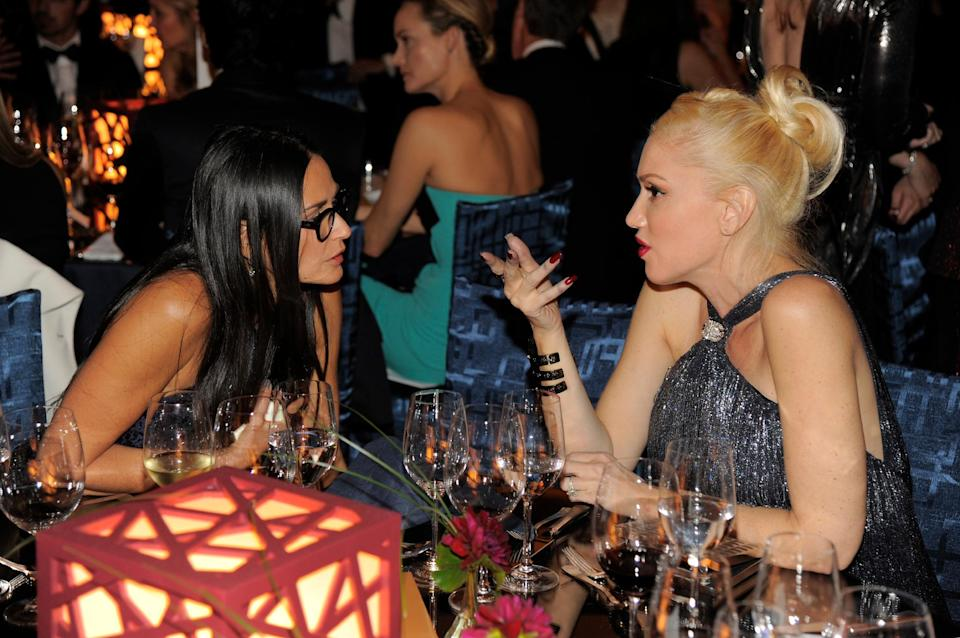 Actress Demi Moore, left, and musician Gwen Stefani attend the Wallis Annenberg Center for the Performing Arts Inaugural Gala on Thursday, Oct. 17, 2013, in Beverly Hills, Calif. (Photo by Chris Pizzello/Invision/AP)