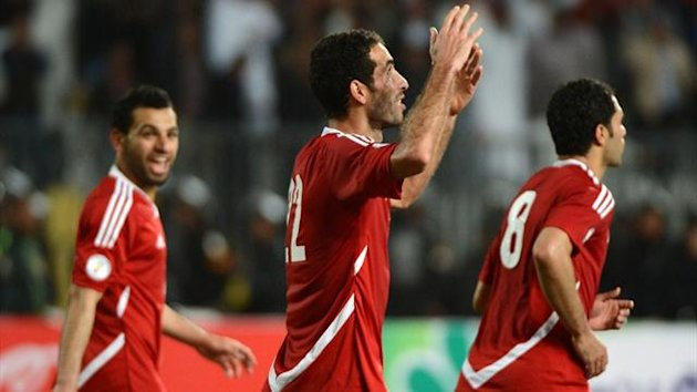 Egypt's Mohammed Aboutrika (C) celebrates his goal against Zimbabwe in a World Cup qualifier (AFP)