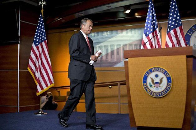 "House Speaker John Boehner of Ohio arrives to speak to reporters on Capitol Hill in Washington, Thursday, Nov. 29, 2012, after private talks with Treasury Secretary Timothy Geithner on the fiscal cliff negotiations. Boehner said no substantive progress has been made between the White House and the House"" in the past two weeks. (AP Photo/J. Scott Applewhite)"