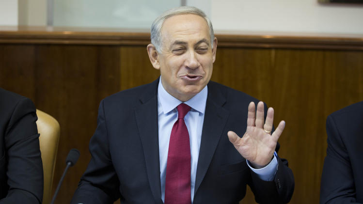 Israeli Prime Minister Benjamin Netanyahu speaks at the weekly cabinet meeting at his Jerusalem office on Sunday, Oct. October 2013. (AP Photo/Abir Sultan, Pool)