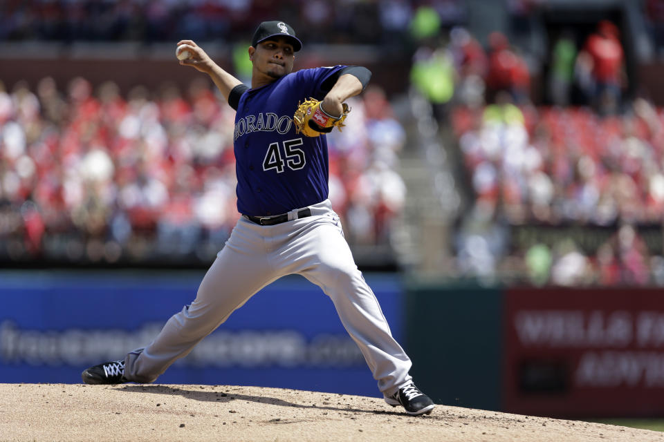 Colorado Rockies starting pitcher Jhoulys Chacin throws during the first inning of a baseball game against the St. Louis Cardinals Saturday, May 11, 2013, in St. Louis. (AP Photo/Jeff Roberson)