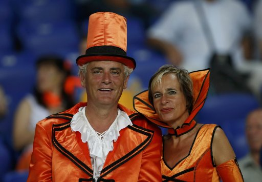 Netherlands' fans are pictured before their Group B Euro 2012 soccer match against Germany at the Metalist stadium in Kharkiv