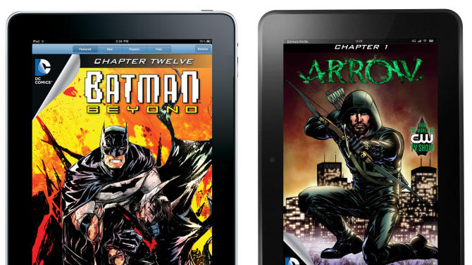 "This combo made from product images provided by DC Entertainment shows a digital issue of ""Batman Beyond"" as seen on an iPad, and a digital issue of ""Arrow"" as seen on a Kindle Fire HD. In a nod to the expanding reach of tablets like iPads, Kindles and Nooks, DC Entertainment says it has begun selling all of its monthly comic book titles through e-stores operated by Apple, Amazon and Barnes & Noble. The move comes as comic book publishers increasingly embrace digital platforms as they attempt to augment print sales in traditional comic book shops and stores by making it easier for first-time and casual buyers to buy and read comics instantly. (AP Photo/DC Entertainment)"