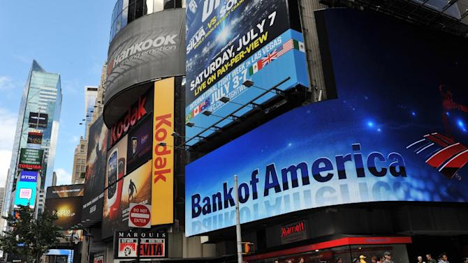 This June 26, 2012 photo shows a Bank of America branch in New York's Times Square