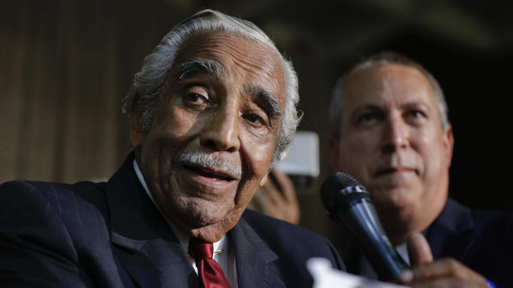 Rep. Charles Rangel, D-N.Y., speaks at his primary election night gathering, Tuesday, June 24, 2014, in New York. Rangel is seeking his 23rd term against opponent state Sen. Adriano Espaillat. (AP Photo/Julie Jacobson)
