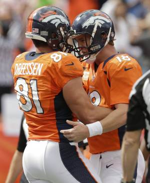 Denver Broncos quarterback Peyton Manning (18) celebrates with tight end Joel Dreessen (81) after Dreessen caught a pass for a touchdown against the Oakland Raiders during the first quarter of an NFL football game Sunday, Sept. 30, 2012, in Denver. (AP Photo/Joe Mahoney)