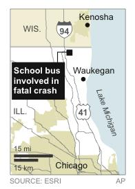 Map locates site of a fatal crash involving a school bus headed to Newport Elementary School in Illinois.