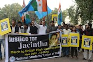 National Students Union of India activists march on December 15, 2012 to the British High Commission in New Delhi in support of Indian-born nurse Jacintha Saldanha, who was found dead after being hoaxed by an Australian radio show trying to reach Prince William's wife in London