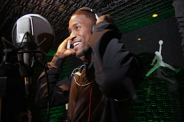 IMAGE DISTRIBUTED FOR JORDAN BRAND - Charlotte Bobcats rookie Michael Kidd-Gilchrist records a rap at the Jordan Brand Flight Deck on Thursday, Feb. 14, 2013 in Houston, TX.  Kidd-Gilchrist is one of
