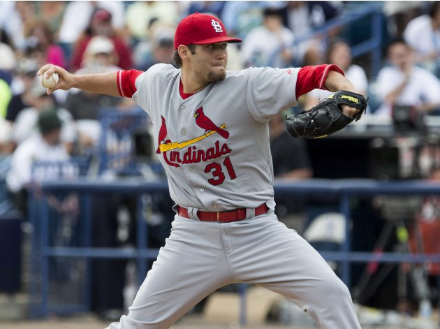 St. Louis Cardinals starting pitcher Lance Lynn works from the mound against the New York Yankees in Tampa