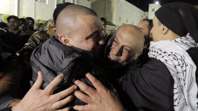 A prisoner released from Israeli prison is welcomed by relatives in the West Bank city of Ramallah