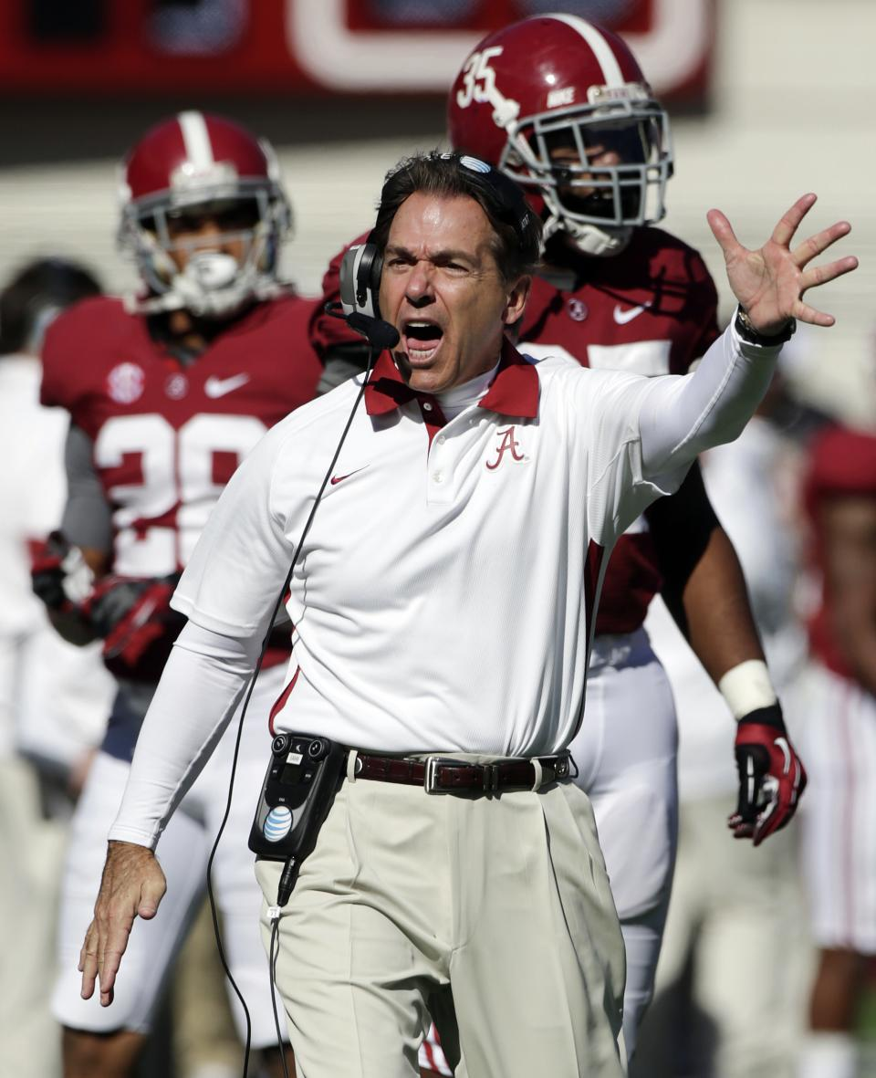 FILE - In this Nov. 17, 2012, file photo, Alabama coach Nick Saban reacts during the first half of an NCAA college football game against Western Carolina at Bryant-Denny Stadium in Tuscaloosa, Ala. Alabama faces Georgia in the SEC Championship on Saturday. (AP Photo/Dave Martin, File)