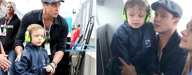 Brad Pitt and look-alike son hit Grand Prix